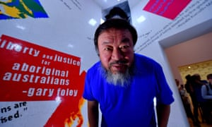 Ai Weiwei at his exhibition in Melbourne, part of which was constructed with toy bricks.
