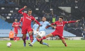 Jesus scores under pressure from Alexander-Arnold and Matip
