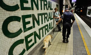 A police officer and dog at Central station in Sydney