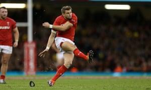 Dan Biggar of Wales kicks a penalty to make the score 9-6 against Australia