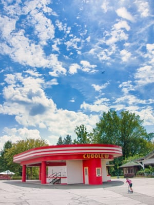 Retro Cuddle Up pavilion which once housed tea cup rides at Glen Echo Park, Maryland, USA