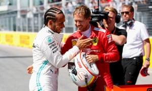 Lewis Hamilton congratulates Sebastian Vettel after the German took pole position in Montreal.