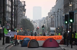 Tents have replaced cars on this road near Marble Arch