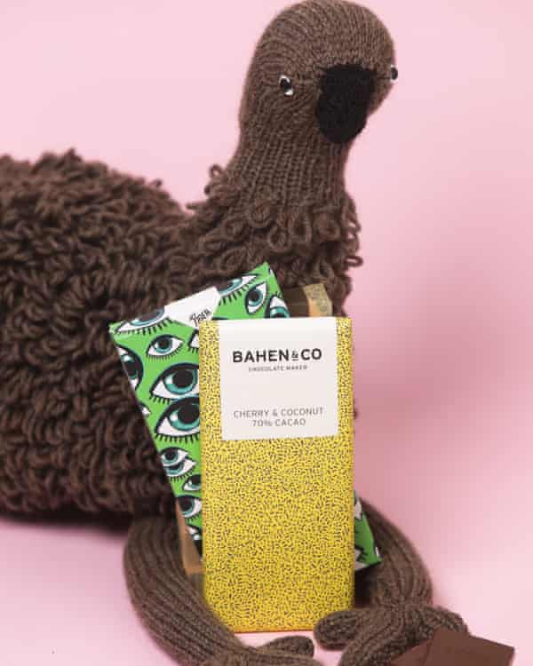 A Planet Furniture hand-knitted emu with chocolate packages
