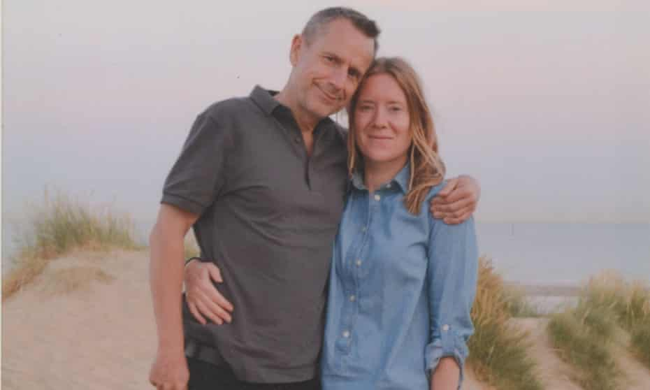 Jeremy Hardy and Katie Barlow on holiday in Camber Sands, 2016.