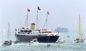 HMY Britannia leaving Portsmouth with the royal family onboard in 1997.