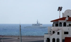 A Spanish warship off the coast of Gibraltar
