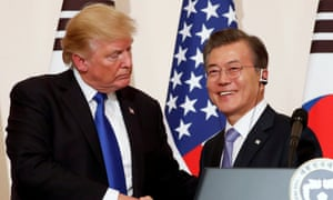 Trump with President Moon in November last year. North Korea has threatened withdrawal from the talks if US officials retained their hardline negotiating position.