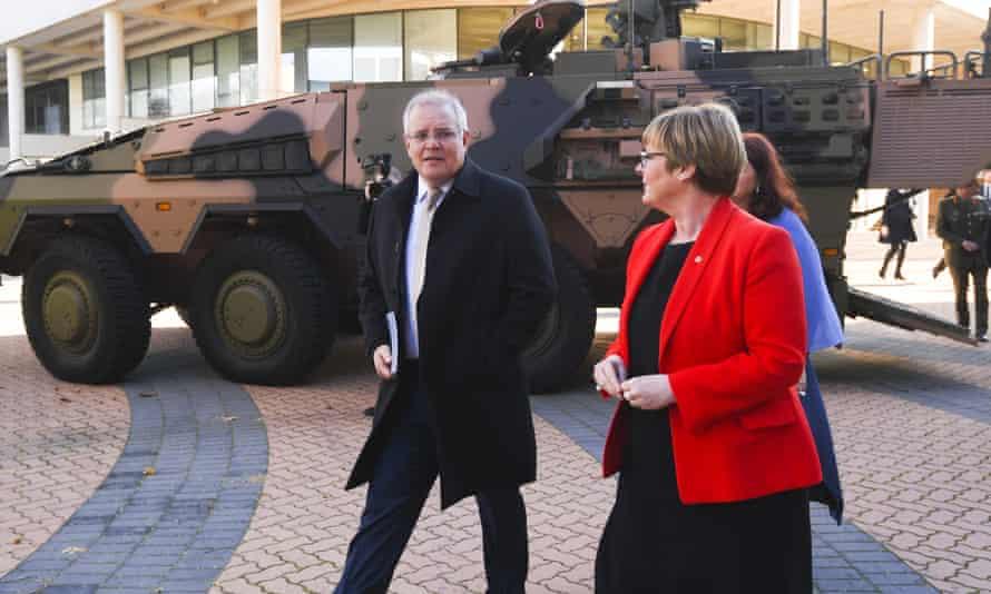 Australia's prime minister, Scott Morrison, and the Australian defence minister, Linda Reynolds