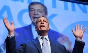 Nigel Farage at a Brexit party rally in Birmingham, April 2019.