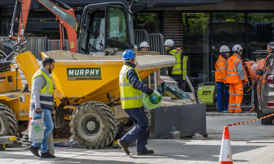 Construction work taking place in south London on 11 May.