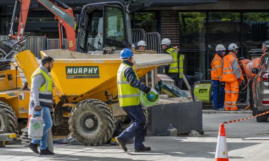 Construction work takes place in Clapham, south London, following the government's change of guidance on 11 May.