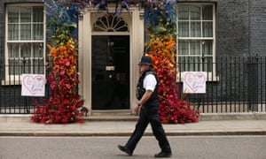 A police officer at 10 Downing Street, July 2019