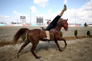 A rider performs  a mounted demonstration at the Etnospor culture festival in Istanbul