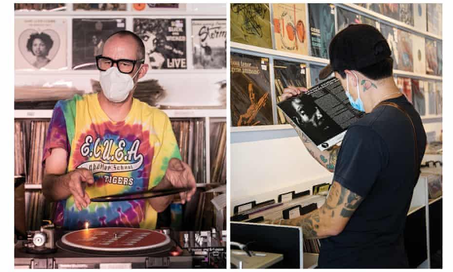 Yo-Yo owner Derek (left) DJing in his shop