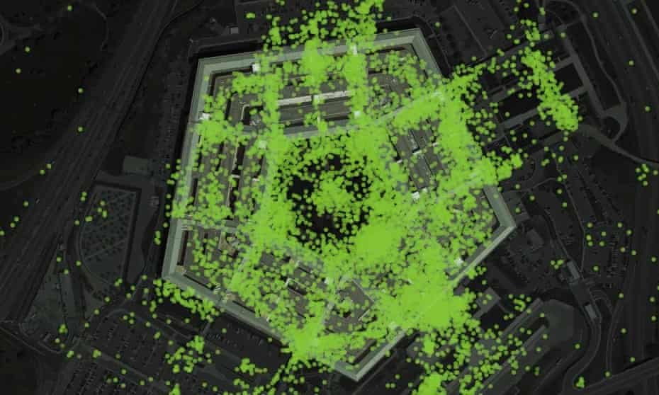 Smartphone data providing the precise location of thousands of Americans in secure facilities like the Pentagon.