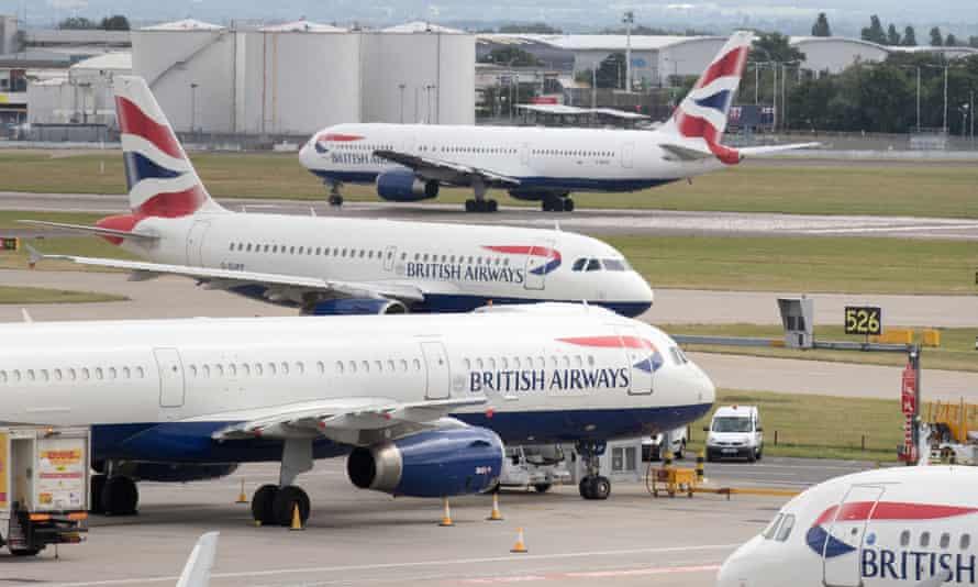 BA aircraft at London's Heathrow airport.