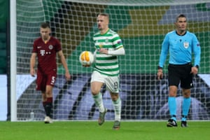 Leigh Griffiths of Celtic celebrates after he scores his sides first goal.