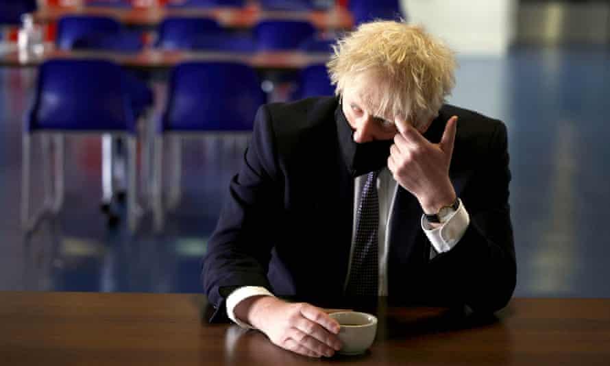 Boris Johnson at King Solomon Academy, London, in April 2021.