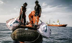 An exercise is conducted in front of the Aquarius