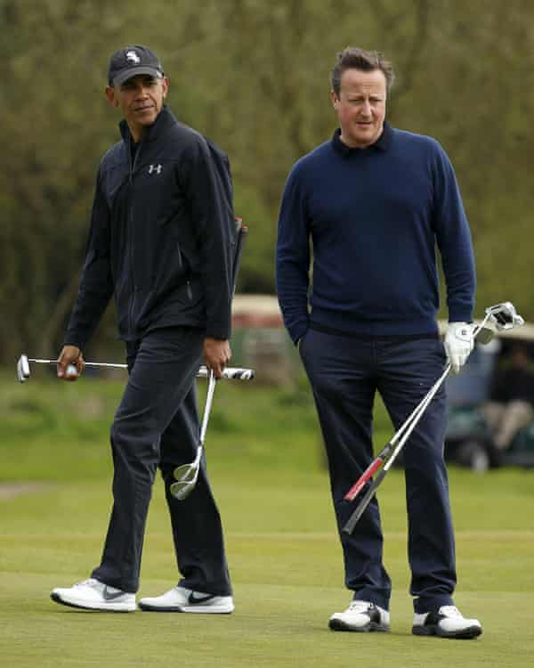 US President Barack Obama plays golf with Prime Minister David Cameron near Watford in 2016.