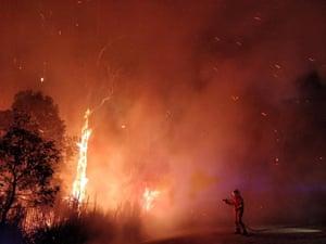Sunshine Coast, Australia Firefighters battle a bushfire in Peregian Springs