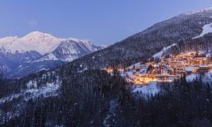 La Tania, Tarentaise valley, Savoie at dusk lights on in village