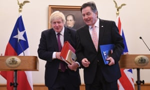 Boris Johnson (left) after holding a press conference with Chilean foreign minister Roberto Ampuero at the Ministry of Foreign Affairs in Santiago, Chile.