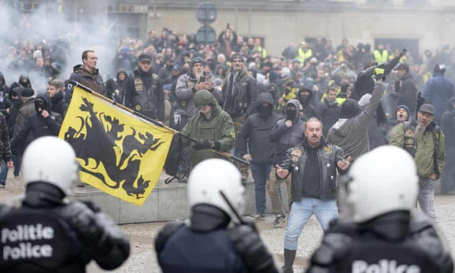 Far-right protesters clash with police in Brussels.