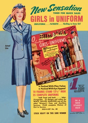Dressing up female figurines in wartime uniforms by the D. A. Pachter Company, 1944 advert from the book Toys: 100 Years of All-American Toy Ads (£30) by Jim Heimann and Steven Heller is published by Taschen.