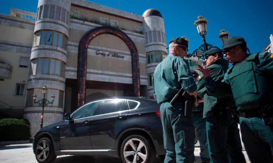 Members of the Spain's Guardia Civil during the raids.