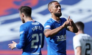 Kemar Roofe of Rangers celebrates scoring against Kilmarnock.