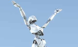 female robot with arms outstretched to the sky