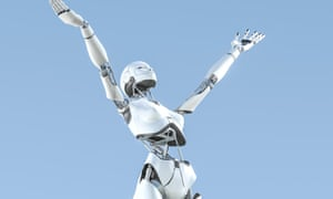 Female humanoid robot with arms upraised to the sky