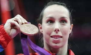 Beth Tweddle displaying her bronze medal for gymnastics at the 2012 Olympics