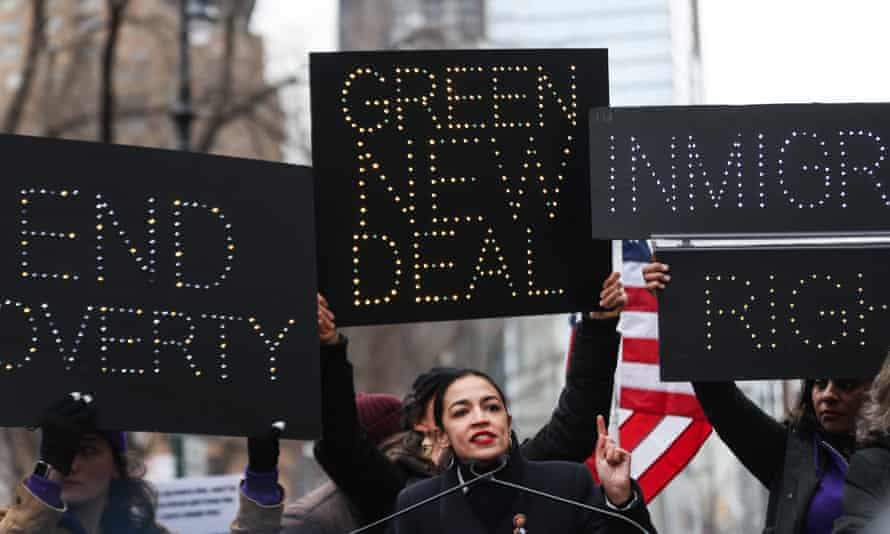 Alexandria Ocasio-Cortez at the Women's March in January as activists call for a Green New Deal.
