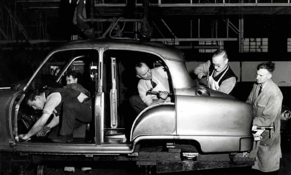 Workers making Standard Vanguard bodies  in a Coventry factory, 1953.