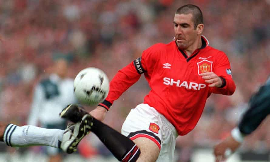 Cantona controls the ball against Liverpool in the 1996 FA Cup final at Wembley, the year he led Manchester United to the double.