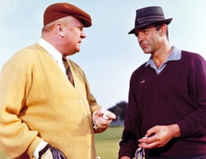 Goldfinger and James Bond exchange words on the links