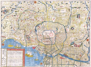 An 1849 map of Edo showing the city's waterways