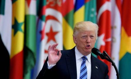 Donald Trump speaking in Riyadh on 21 May.
