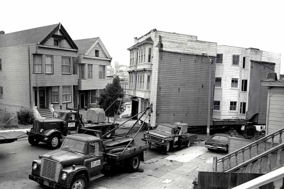 Moving a Western Addition house in the 1970s in San Francisco.