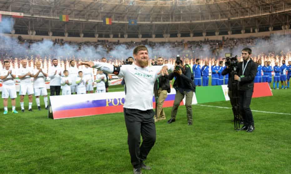 Ramzan Kadyrov dances before an October 2017 football match with Italian veteran players to mark Vladimir Putin's 65th birthday.