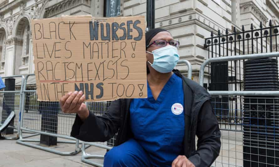 Nurses protest outside Downing Street in June 2020.