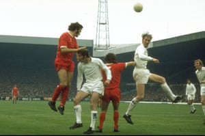 Jack Charlton was known for his ability in the air. On this occasion he beats Liverpool's Larry Lloyd and Kevin Keegan to the ball during a Division One match at Anfield in September 1972. Charlton was limited to 25 appearances in the 1972–73 season and an injury in the FA Cup semi-final against Wolves ended his season. After failing to regain his fitness for the final, he announced his retirement.