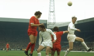 Jack Charlton, right, and Paul Madeley of Leeds, taking on Larry Lloyd and Kevin Keegan of Liverpool in 1972.