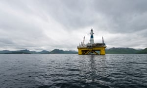 One of Shell's drill rigs, the Polar Pioneer, in a bay in Unalaska's Dutch Harbor, as Shell prepares its equipment to drill for oil in the Chukchi Sea in the Alaskan Arctic, August 2015.