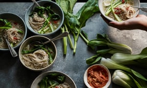Bowls of miso soup with noodles