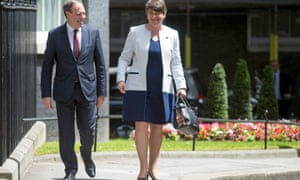 Arlene Foster, the DUP leader, and Nigel Dodds, the DUP leader at Westminster, in Downing Street last week for talks with Theresa May.