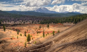 Painted Dunes with mount Lassen in the distance in Lassen Volcanic National Park, California, USA.